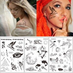 Черная Временная тату-наклейка в стиле ретро с изображением птицы, цветка, руки, руки, лицо, глаза, большой размер, поддельные тату-наклейки д...