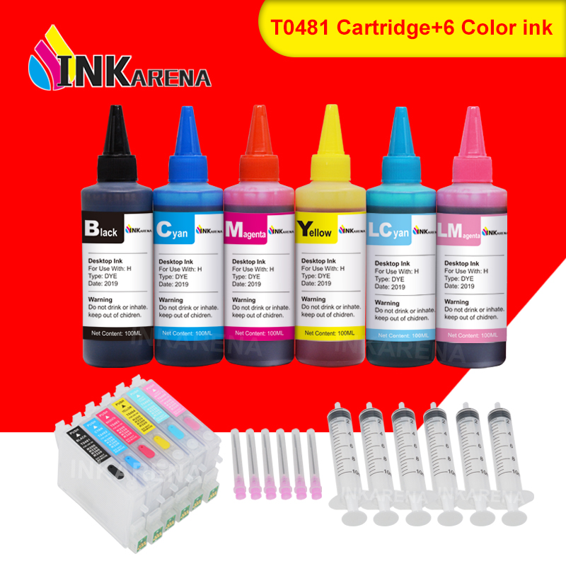 INKARENA T0481 - T0486 Ink Cartridge + 6×100ml Bottle Refill Ink Kit For <font><b>Epson</b></font> Stylus Photo <font><b>R200</b></font> R220 R300 R300M R320 R340 RX500 image