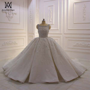 hochzeit Off White Lace Appliqued Crystal Ball Gown Wedding Dress 2020