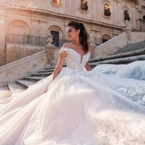 Image 5 - Adoly mey glamórous apliques renda, corte em linha a, vestidos de casamento, pescoço em barco, frisado, princesa, de noiva, plus size 2020