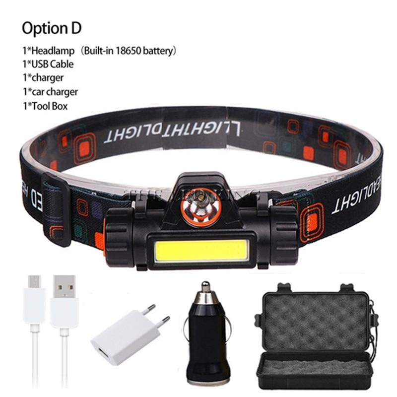 2020 Новый USB Перезаряжаемый светодиодный налобный фонарь 3 Вт COB Q5 Высокий люмен литиевая батарея водонепроницаемый 2 луча светильник онарь с...