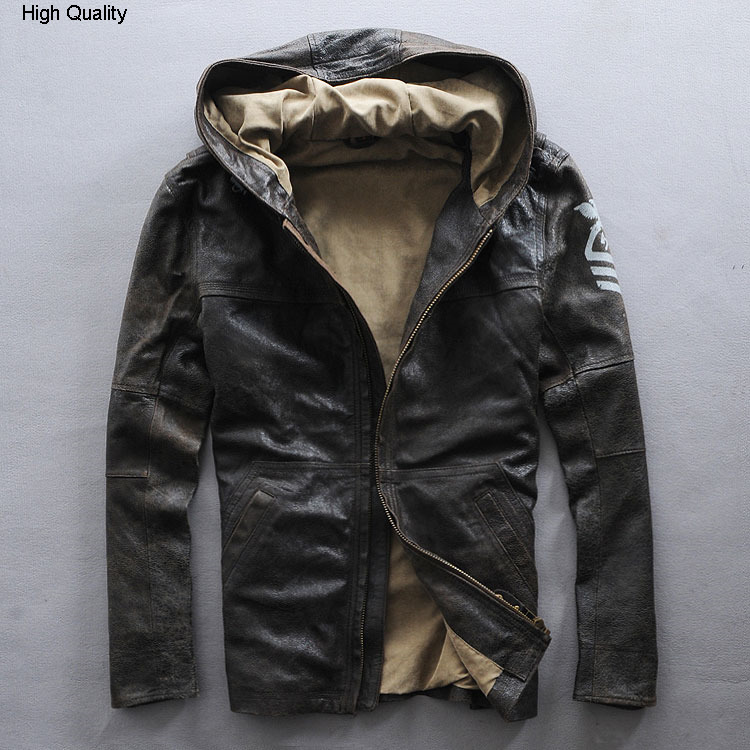 New Hooded Genuine Leather Jacket Men Sheepskin Flight Jacket Black Casual Pilot Jacket Autumn Windbreaker Men Brown Coat