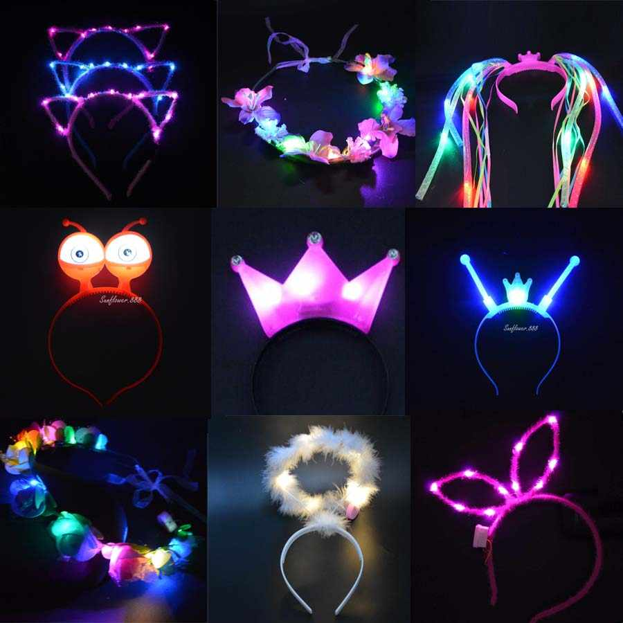 1 Pcs KIDS ADULT FLASHING  LIGHT LED TIARA CROWN HEADBANDS HEN BIRTHDAY PARTY WEDDING DECORATION  Neon Party