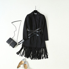 2019 New Women Stars with V-neck Fringed Slim Mid-length Suit Dress Turn-down Collar Knee-Length Straight Black