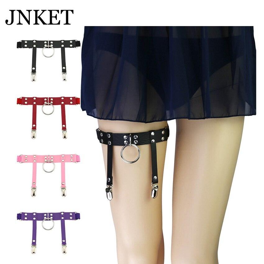 JNKET New Harajuku Metal Ring Garter Belt Punk Leg Ring Garter Women's Garters Strap PU Leather Leg Belt Suspender Leg Ring