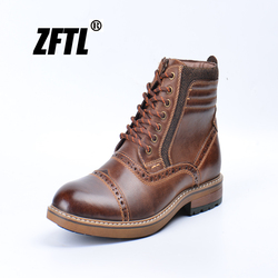 ZFTL New Men's Martins boots man causal boots genuine leather big size autumn winter warm man Bullock ankle boots  047