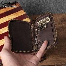 Cobbler Legend Vintage Genuine Leather Key Holder Wallet Keychain Covers Zipper Car Key Case Bag Men Housekeeper Keys Organizer все цены