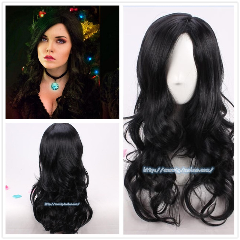 Halloween The Witch Yennefer Of Vengerberg Black Wavy Wig Women Role Play Black Hair Cosplay Wavy Wig