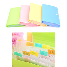 Small Size 104*78*35mm Plastic Candy Color Document Bag File Folder Expanding Wallet Bill Folder(China)