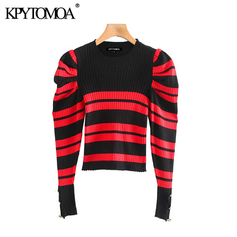 Vintage Stylish Striped Cropped Thin Knitted Sweater Women 2020 Fashion O Neck Puff Sleeve Stretchy Female Pullovers Chic Tops