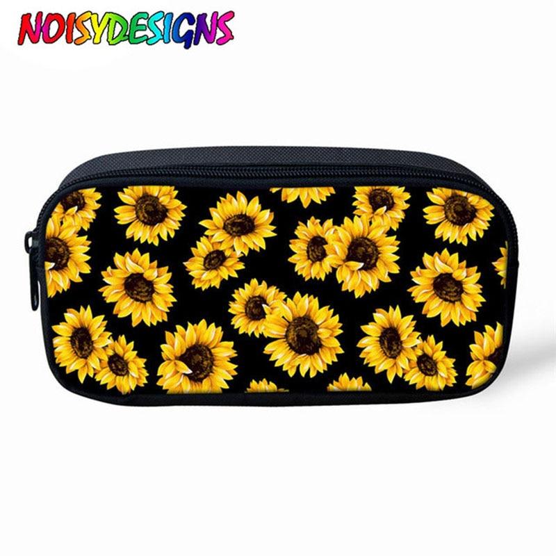 NOISYDESIGNS Children Pencil Box Pencilcase Sunflower Bag Pencil Case For Girls School Supplies Zipper Makeup Girassol Bag Bolsa