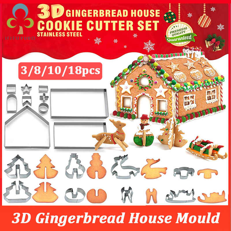 8//10//18pcs Fondant Biscuit Mold Cookie Gingerbread House Baking Tool Baking New