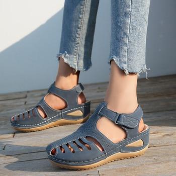 Woman Summer Vintage Wedge Sandals Buckle Casual Sewing Women Shoes Female Ladies Platform Retro Sandalias Plus Size 2