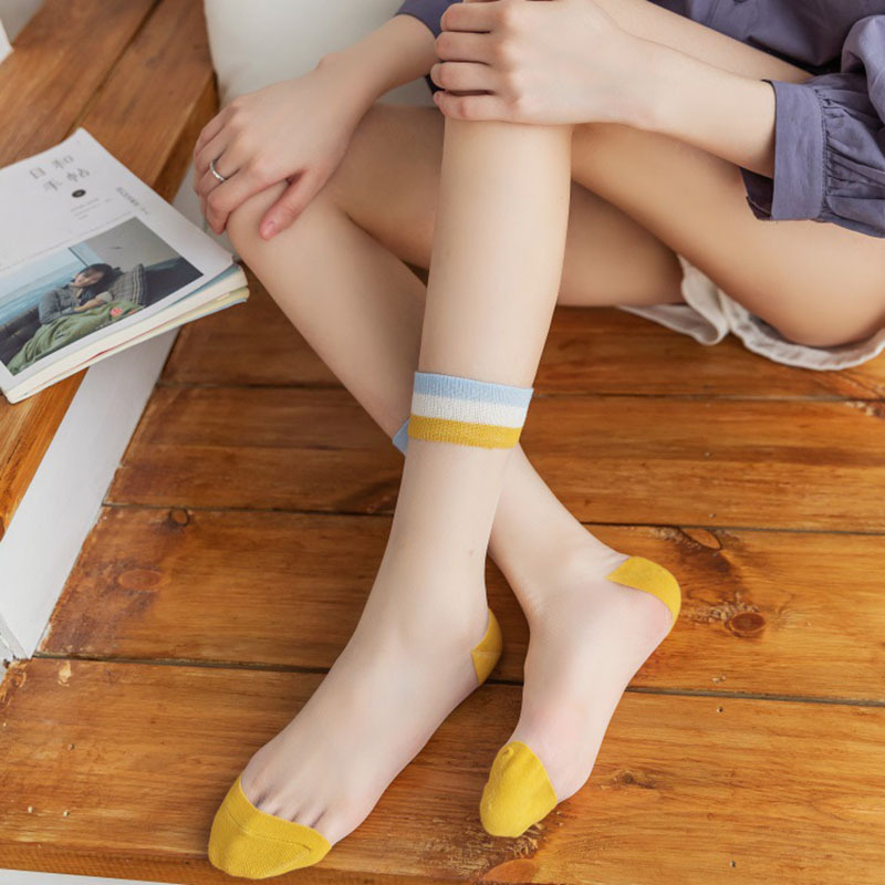 Chic Transparent Rainbow Color Breathable Socks Women Striped Glass Silk Socks