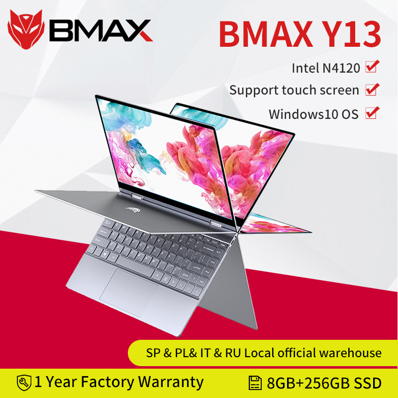 Computador portátil de bmax y13 360 ° 13.3 polegadas notebook windows 10 8gb lpddr4 256gb ssd 1920*1080 ips intel n4120 portáteis da tela de toque 1