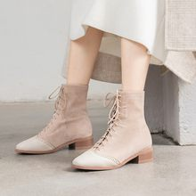 Big Size 9 10 11 12 boots women shoes ankle boots for women ladies boots shoes woman winter Cross band suede stitching(China)