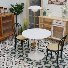 1/6 BJD Ob11 Em Miniatura Casa De Bonecas Mobiliário Mini Modelo de mesa Preto e branco top e pernas de mesa tulip