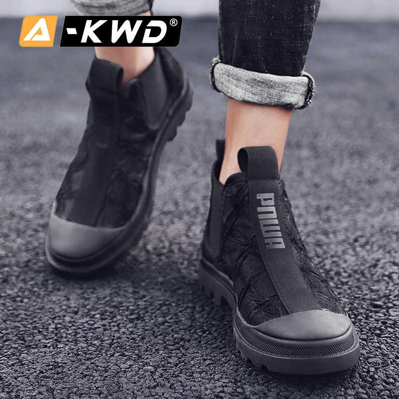 Moda tuval Chelsea çizmeler kış ayakkabı erkekler sıcak yüksek üstleri iş ayakkabısı Slip-on erkekler Boots Chaussure Homme Hiver tek spor ayakkabı