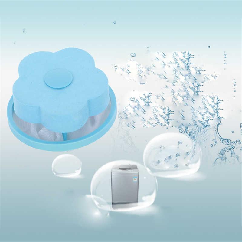 1 pçs forma de flor flutuante máquina de lavar roupa sacos de filtro de limpeza líquido dispositivo remoção do cabelo malote filtro malha sacos