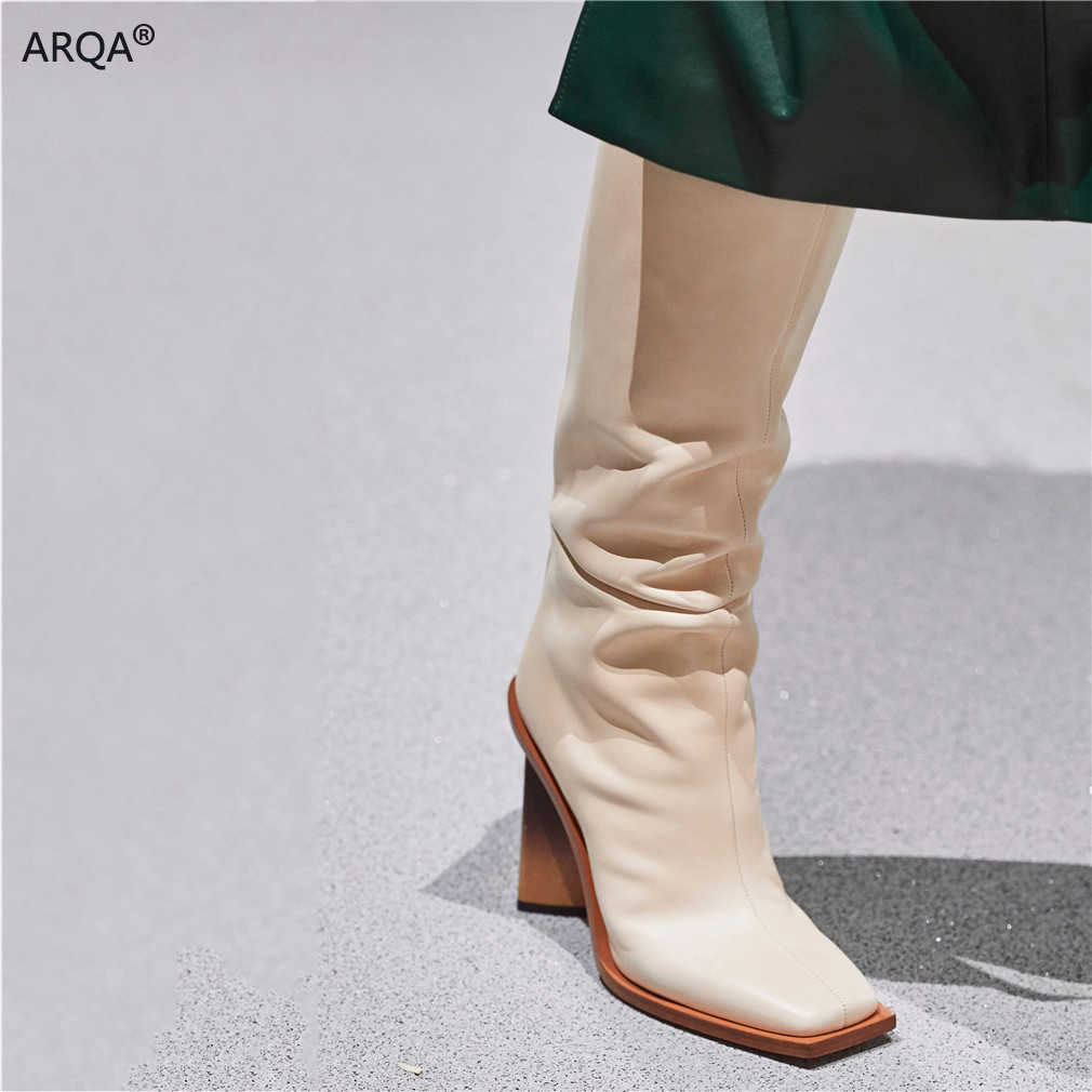 Womens Square Toe Leather Chunky Heels Over Knee High Boots Shoes Runway Ladies