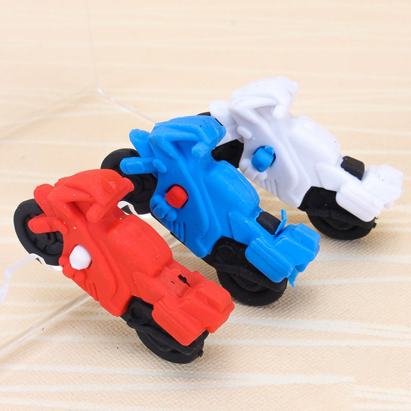 2pcs Motorcycles Rubber Pencil Eraser Stationary School Supplies Items Kawaii Office Creative Cartoon Kids Gift Students Prizes