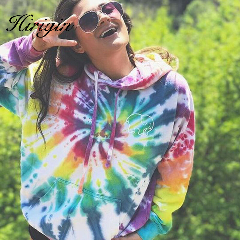 Hoodies Multicolor Casual Women Drawstring Hooded Sweatshirt 2019 Autumn Tie Dye Long Sleeve Hoodies Pullover Tops Size S-XXL
