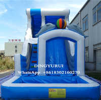 Water park equipment inflatable slide dolphin water slide ourdoor entertainment