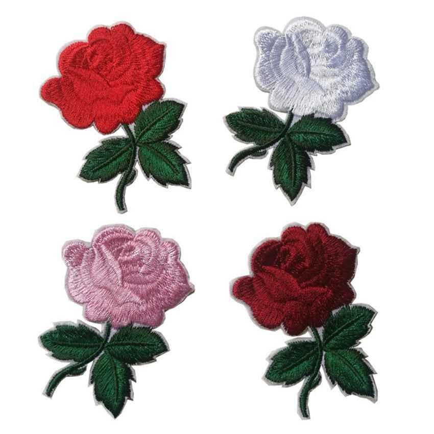 Gran venta parches florales de hierro en rosa roja con motivo bordado apliques para mujer ropa de bricolaje pegatina parche de boda Adorno