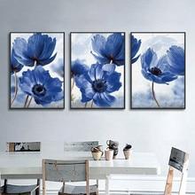 Синие цветы Плакаты Скандинавская Картина на холсте современный Стиль красивый домашний декор минимализм печати картина на стену для Гост...
