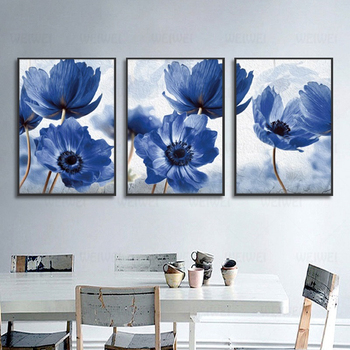Blue Flowers Posters Nordic Canvas Painting Modern Style Beautiful Home Decor Minimalism Print Wall Picture For Living Room