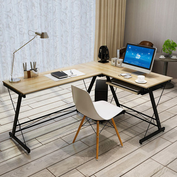 цена на Simple computer desk PC table with keyboard tray laptop table home office working study desk corner table easy assembly