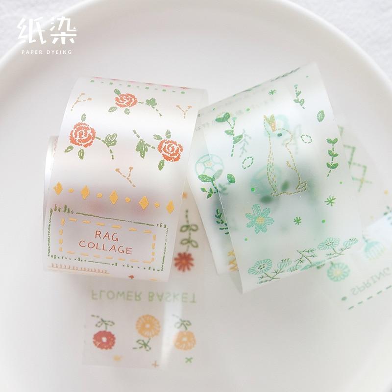 Retro Flower Animal Washi Tape Pet Transparent Label Tape Scrapbooking Album Diy Handmade Decoration Sticker Masking Tape
