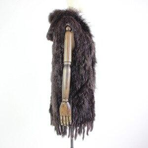 Image 5 - Новый жилет из натурального меха Harppihop, вязаный жилет из натурального кроличьего меха с капюшоном, длинное пальто, женские зимние жилеты