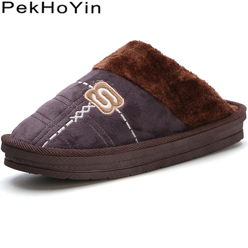 Thick Sole Non-slip Winter Warm Flock Indoor Home Men Slippers Shoes Footwear Flat Closed Toe Male Casual Mens Slipper