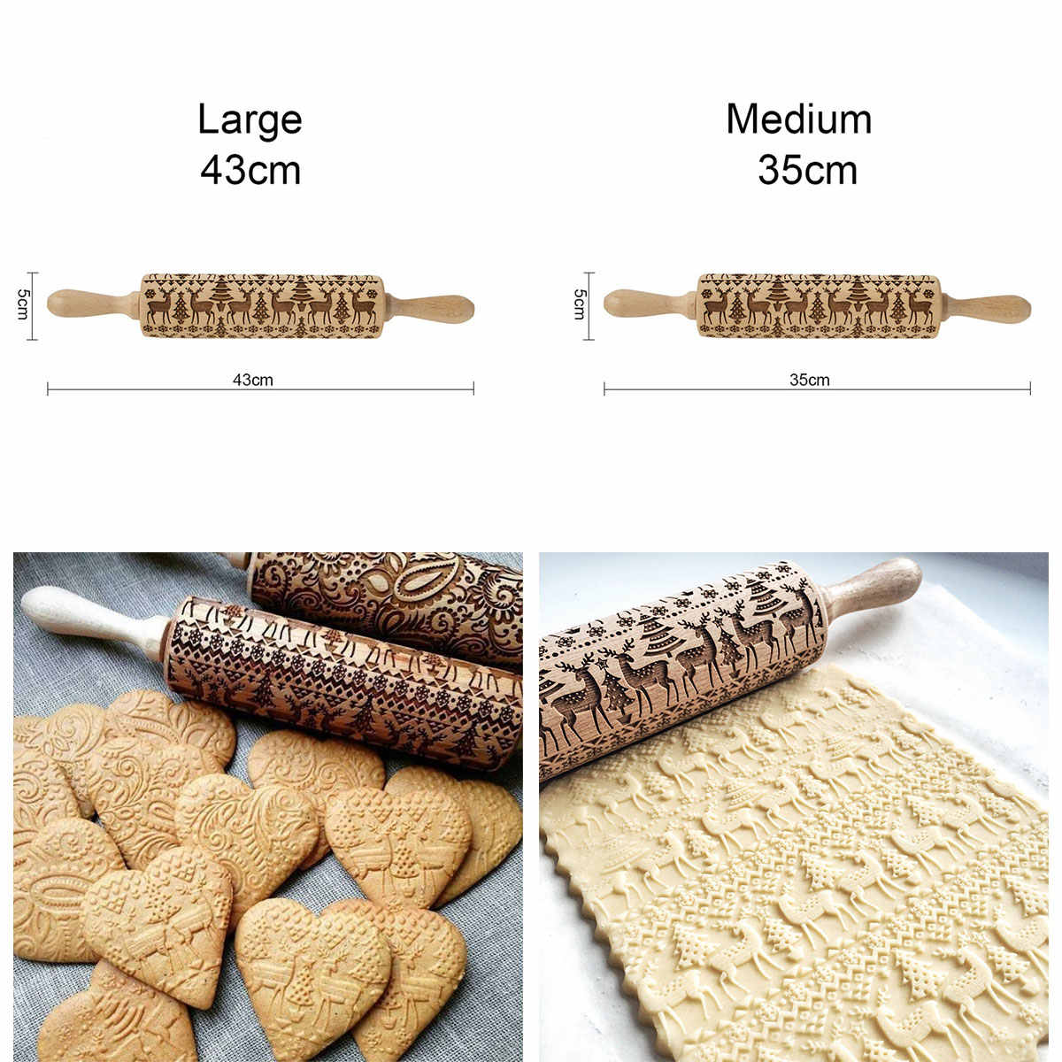 Baking Rolling Pin Embossing Cookies Noodle Wooden Biscuit Dough Pattern Roller