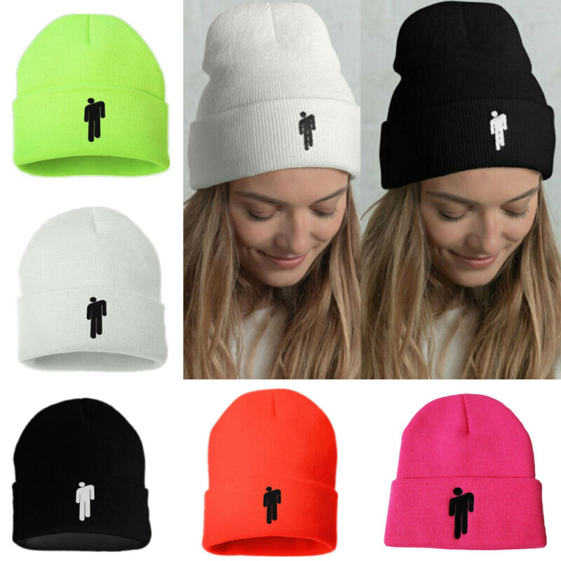 Hot Billie Eilish Beanie Women Men 5 COLOR Unisex Stickman Knit Cap Bonnet 2019 Knit Beanie Baggy Oversize Hat Ski Slouchy Hat