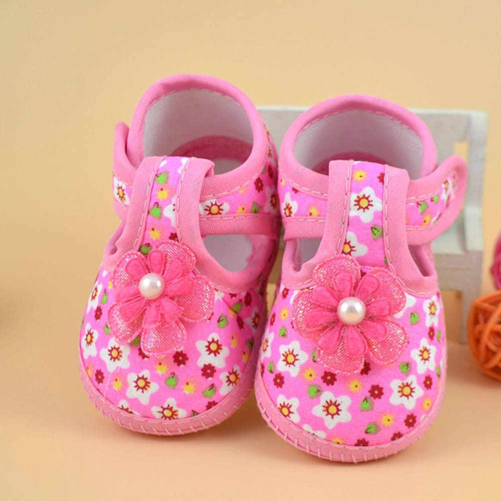 Baby Girl Shoes Newborn Flower Printed Boots Soft Crib Shoes Soft Anti-slip Cotton Sole Spring Autumn First Walkers 0-18M