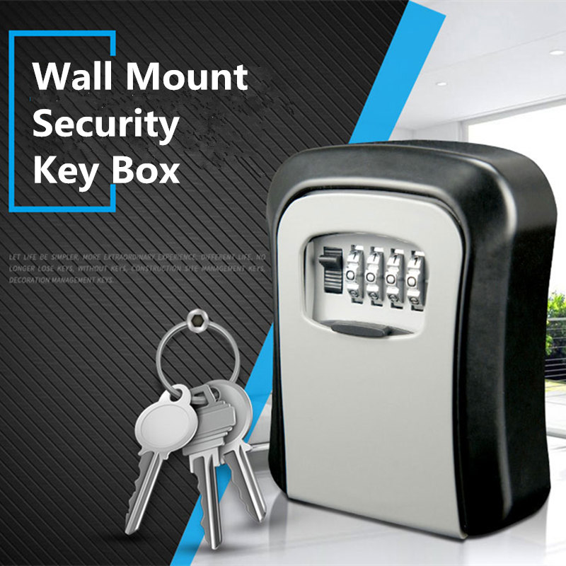 Clearance Sale Items Alloy Wall Mount Key Money Security Storage Organizer 4 Digital Password Lock Safe Secret Box Coffre Fort