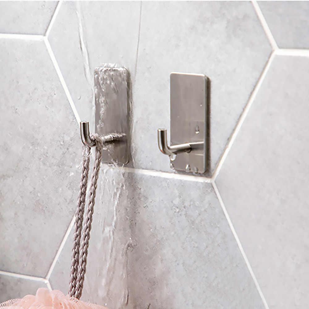جدار فولاذي مقاوم للصدأ هوك الذاتي لاصق مثبت المطبخ المنزل الحمام كرة استحمام حقيبة مفاتيح شماعة معطف تخزين حامل معلق رف