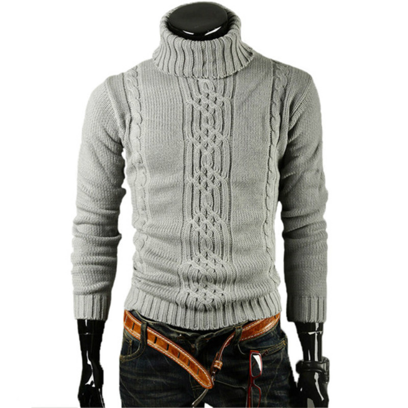 Men'S Sweater Jacquard Hedging Men'S Turtleneck Solid Casual Sweater Pullover Male Brand Men's Slim Sweaters Knitted Pullovers