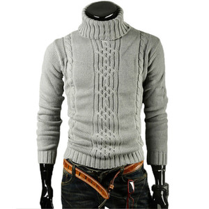 Men'S Sweater Jacquard Hedging Men'S Turtleneck Solid Casual Sweater Pullover Male Brand Men's Slim Sweaters Knitted Pullovers(China)