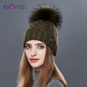 Image 1 - ENJOYFUR Thick Warm Double Layer Women Winter Hats Fashion Coarse Twist Type Knitted Hat Female Fur Pompom Cap Cashmere Beanies