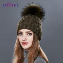 ENJOYFUR grueso cálido doble capa mujeres sombreros de invierno moda grueso tipo Twist sombrero tejido mujer piel Gorro con pompón Cashmere Beanies