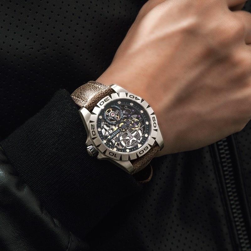 Men's Watches Mechanical-Watch Skeleton Titanium-Case Waterproof Top-Brand Automatic