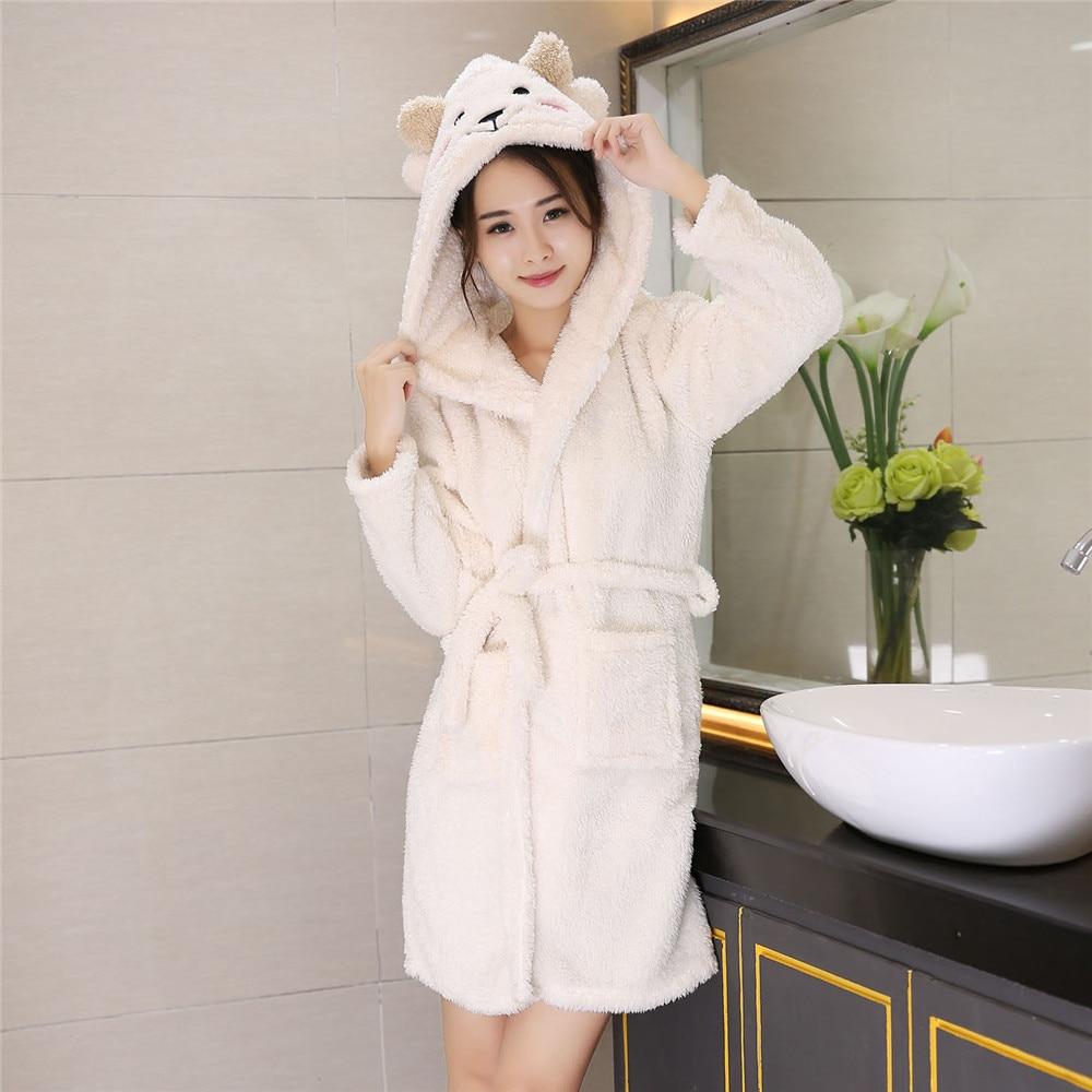 Cute Warm Robe Sleepwear Kimono Gown Short Belt Pyjamas Pocket Women Home Clothing Bathrobe Hooded Coral Fleece Nightwear
