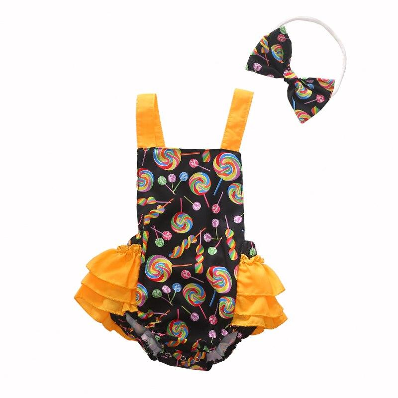 0 3Y Baby Girl Clothes Bowknot Headband Bodysuit Newborn Infant Girls Jumpsuit Lolipop Sunsuit 2pcs Baby Girl Bodysuit in Bodysuits from Mother Kids