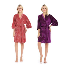 Women Suede short Wedding Bride Bridesmaid Robe Kimono Feminino Bath Large Size Peignoir Femme Sexy Bathrobe