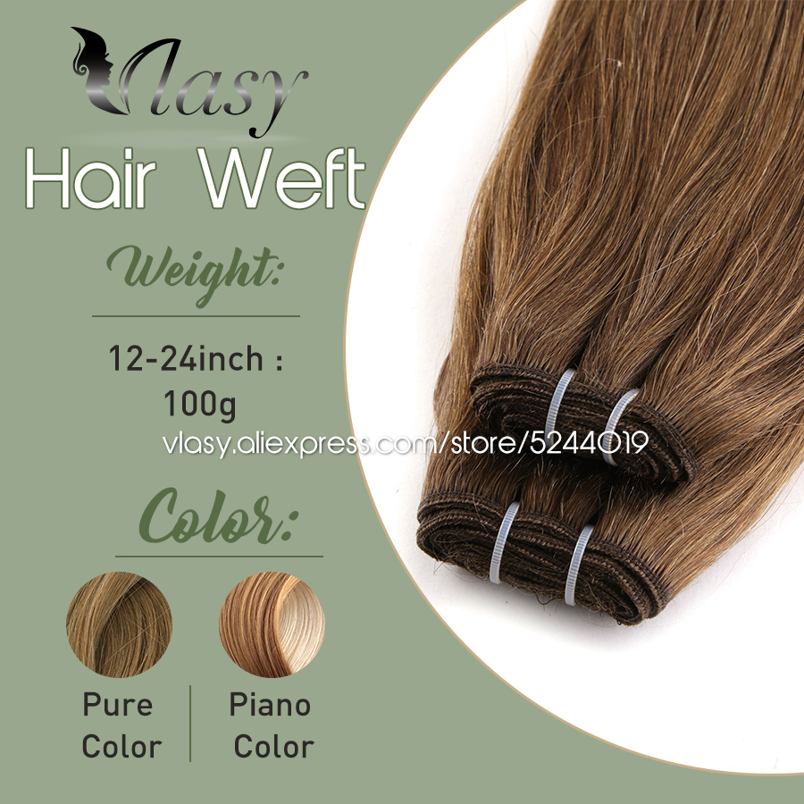 Vlasy 12''-24'' Natural Hair Weft Brazilian Human Hair Bundles Machine Remy Straight Weaving 100g Sew in Human Hair Extensions