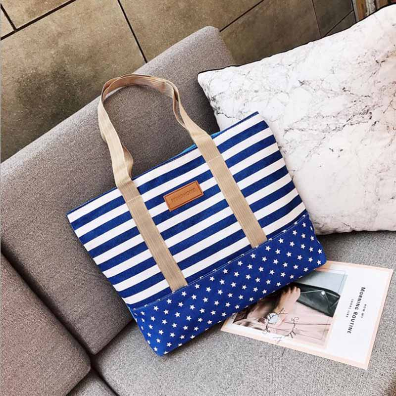 Free Shopping Handbag High Quality Women Girls Canvas Large Striped Summer Shoulder Tote Beach Bag Colored Stripes 1