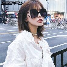 Seemfly Women Oversized Sunglasses Cat Eye Big Wide Temple Fashion Shades UV400 Vintage Brand Sun Glasses Eyewear Oculos De Grau